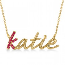 Personalized Ruby Nameplate Pendant Necklace 14k Yellow Gold
