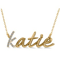Personalized Diamond Nameplate Pendant Necklace 14k Yellow Gold