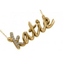 Personalized Diamond Nameplate Pendant Necklace 14k Yellow Gold
