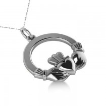 Heart Charm Claddagh Pendant Necklace in 14k White Gold