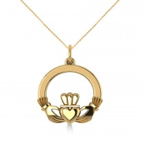 Heart Charm Claddagh Pendant Necklace in 14k Yellow Gold