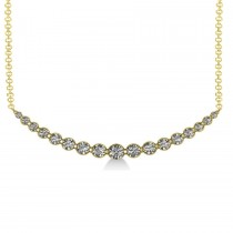 Curved Diamond Accented Pendant Necklace 14k Yellow Gold (2.00ct)