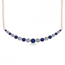 Curved Blue Sapphire & Diamond Bar Pendant 14k Rose Gold (2.00ct)