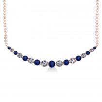 Curved Blue Sapphire & Diamond Bar Pendant 14k Rose Gold (2.00ct)