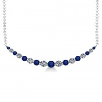 Curved Blue Sapphire & Diamond Bar Pendant 14k White Gold (2.00ct)