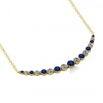 Curved Blue Sapphire & Diamond Bar Pendant 14k Yellow Gold (2.00ct)