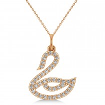 Diamond Swan Pendant Necklace 14k Rose Gold (0.21ct)