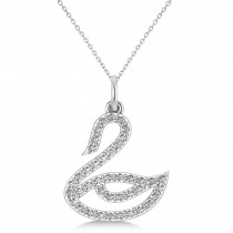Diamond Swan Pendant Necklace 14k White Gold (0.21ct)