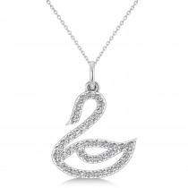 Diamond Swan Pendant Necklace 14k White Gold (0.21ct)