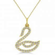 Diamond Swan Pendant Necklace 14k Yellow Gold (0.21ct)