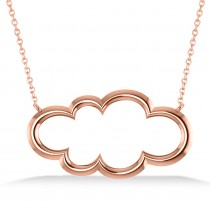 Cloud Outline Pendant Necklace 14k Rose Gold