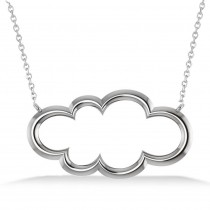 Cloud Outline Pendant Necklace 14k White Gold