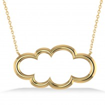 Cloud Outline Pendant Necklace 14k Yellow Gold