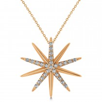 Diamond Starburst Pendant Necklace 14k Rose Gold (0.13ct)