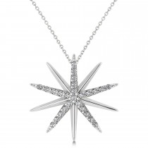 Diamond Starburst Pendant Necklace 14k White Gold (0.13ct)