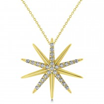Diamond Starburst Pendant Necklace 14k Yellow Gold (0.13ct)