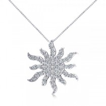Diamond Starburst Sun Pendant Necklace 14k White Gold (0.49ct)