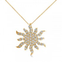 Diamond Starburst Sun Pendant Necklace 14k Yellow Gold (0.49ct)