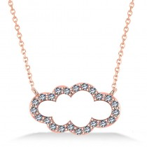 Cloud Outline Diamond Pendant Necklace 14k Rose Gold (0.23ct)