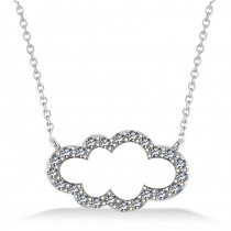 Cloud Outline Diamond Pendant Necklace 14k White Gold (0.23ct)