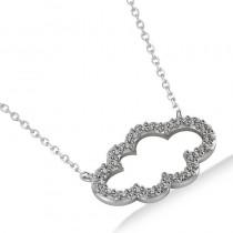 Cloud Outline Diamond Pendant Necklace 14k White Gold (0.23ct)