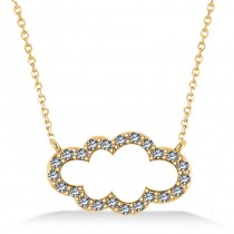 Cloud Outline Diamond Pendant Necklace 14k Yellow Gold (0.23ct)