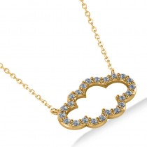 Cloud Outline Diamond Pendant Necklace 14k Yellow Gold (0.23ct)