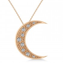 Diamond Crescent Moon Pendant Necklace 14K Rose Gold (0.15ct)