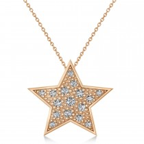 Diamond Accented Star Pendant Necklace 14K Rose Gold (0.26ct)