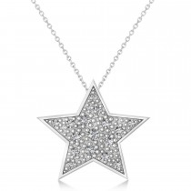 Diamond Star Pendant Necklace 14K White Gold (0.26ct)