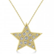 Diamond Accented Star Pendant Necklace 14K Yellow Gold (0.26ct)