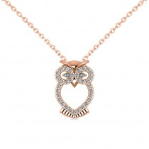 Owl Diamond Pendant Necklace 14k Rose Gold (0.09ct)