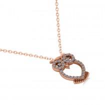 Owl Diamond Pendant Necklace 14k Rose Gold (0.09ct)