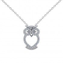Owl Diamond Pendant Necklace 14k White Gold (0.09ct)