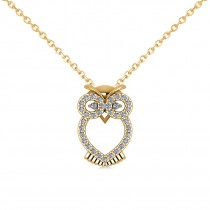 Owl Diamond Pendant Necklace 14k Yellow Gold (0.09ct)