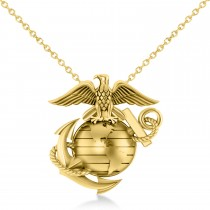 United States Marine Corps Badge Men's Pendant 14k Yellow Gold