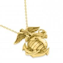 United States Marine Corps Badge Men's Pendant 14k Yellow Gold
