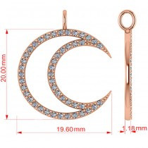 Diamond Crescent Moon Pendant Necklace 14K Rose Gold (0.46ct)