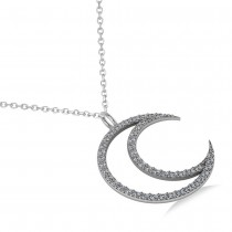 Diamond Crescent Moon Pendant Necklace 14K White Gold (0.46ct)