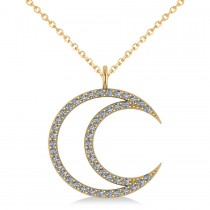 Diamond Crescent Moon Pendant Necklace 14K Yellow Gold (0.46ct)