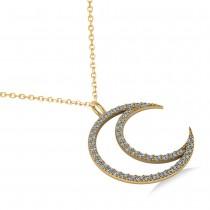 Diamond Crescent Moon Pendant Necklace 14K Yellow Gold (0.46ct)