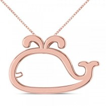 Nautical Whale Pendant Necklace in Plain Metal 14k Rose Gold