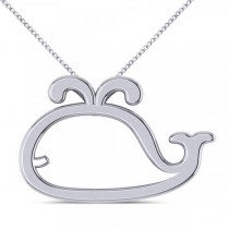 Nautical Whale Pendant Necklace in Plain Metal 14k White Gold