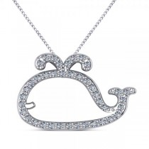 Diamond Nautical Whale Pendant Necklace in 14k White Gold (0.20ct)