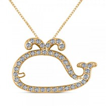 Diamond Nautical Whale Pendant Necklace in 14k Yellow Gold (0.20ct)
