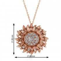 Large Sunflower Diamond Pendant Necklace 14k Rose Gold (0.38ct)