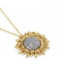 Large Sunflower Diamond Pendant Necklace 14k Two-Tone Gold (0.38ct)