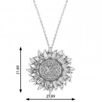 Large Sunflower Diamond Pendant Necklace 18k White Gold (0.38ct)