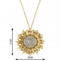 Large Sunflower Diamond Pendant Necklace 18k Yellow Gold (0.38ct)