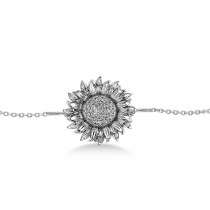 Large Sunflower Diamond Anklet 14k White Gold (0.38ct)